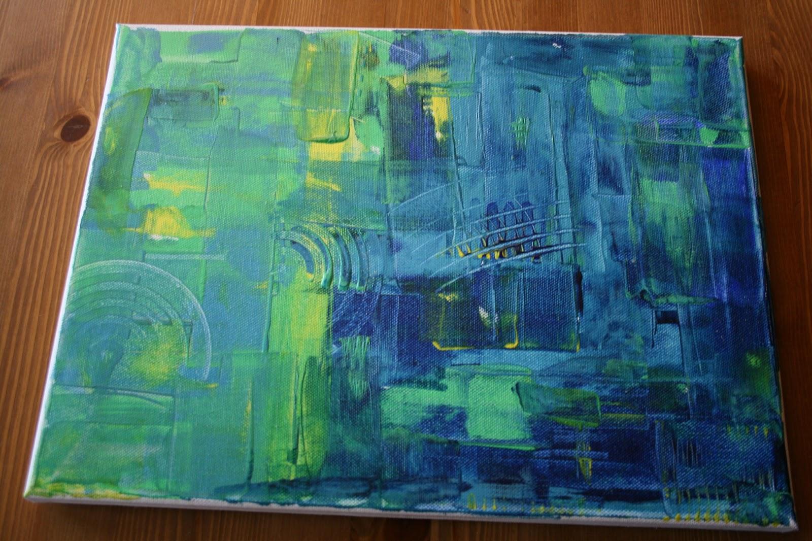 Acryl in blau, grün und gelb